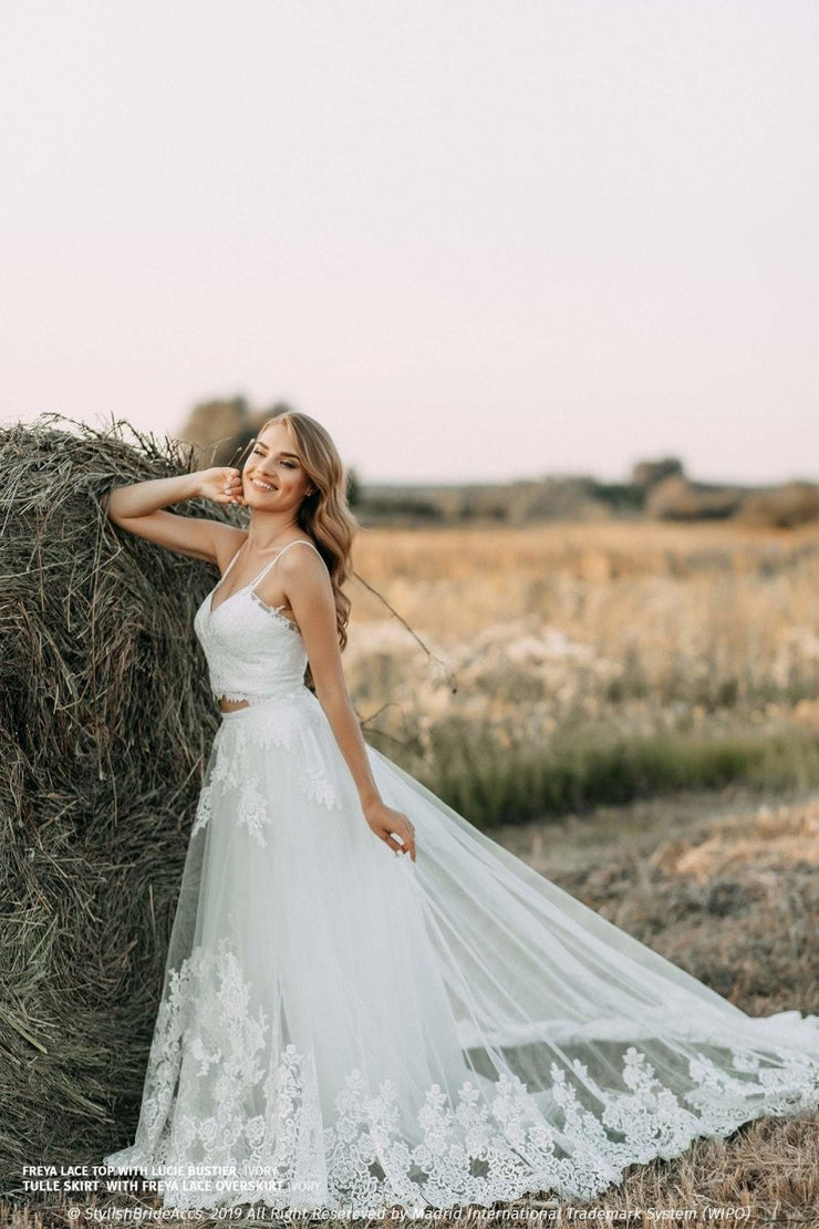Freya | Lace Overskirt on bridal dress - StylishBrideAccs