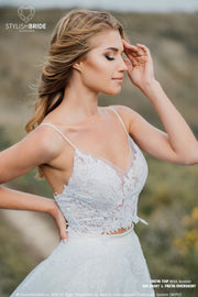 Freya | Wedding Dress with Crop Top and Bustier - StylishBrideAccs