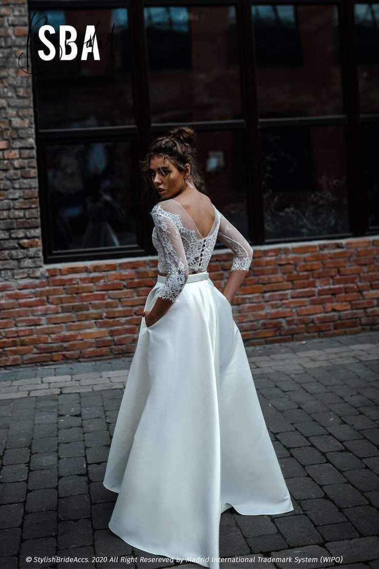 Gia | Satin Bridal Dress with Pockets - StylishBrideAccs