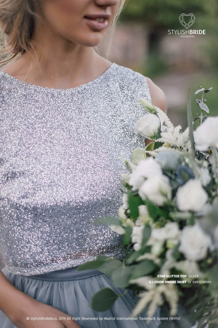 Glitter Star Trendy Crop Top - Prom / Engagement / Bridesmaids silver glitter blouse - StylishBrideAccs