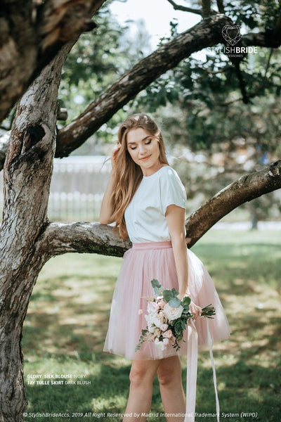 Glory | Prom Top & Fay Dark Blush Skirt - StylishBrideAccs