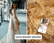 Gold Bridal Embroidered Sequin Fabric - StylishBrideAccs