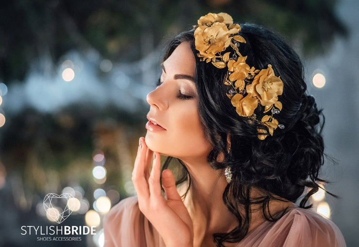 Gold Wedding Hair Vine New 2017, Wedding Gold Flowers Hair Piece, Bridal Gold Hairpiece, Bridal Gold Hair Accessories - StylishBrideAccs