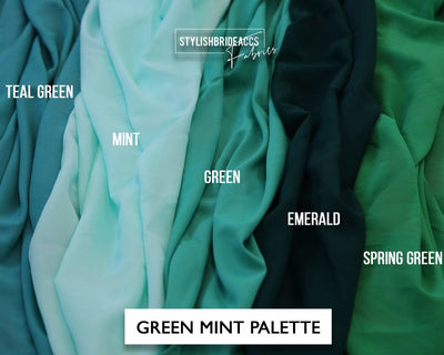 Green Crepe Fabric By The Yard - StylishBrideAccs