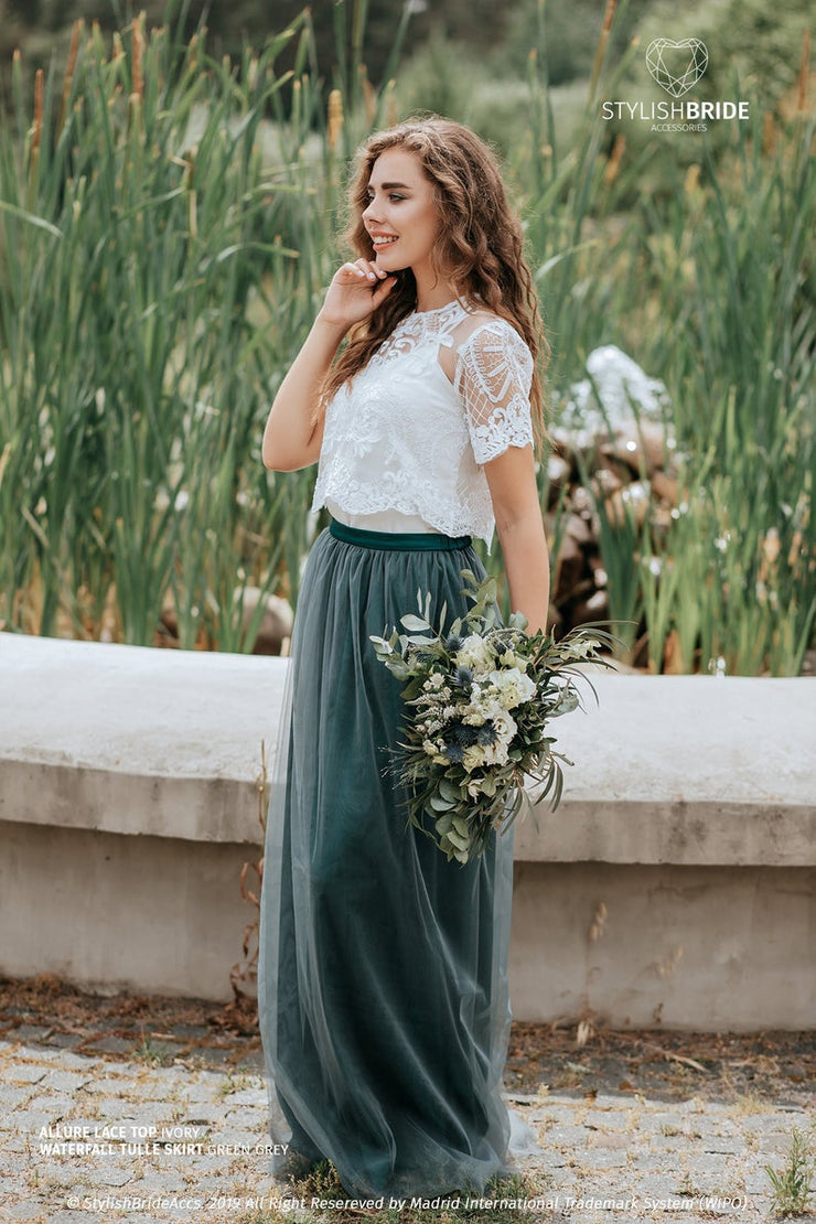 Allure | Prom Top & Waterfall Green Skirt