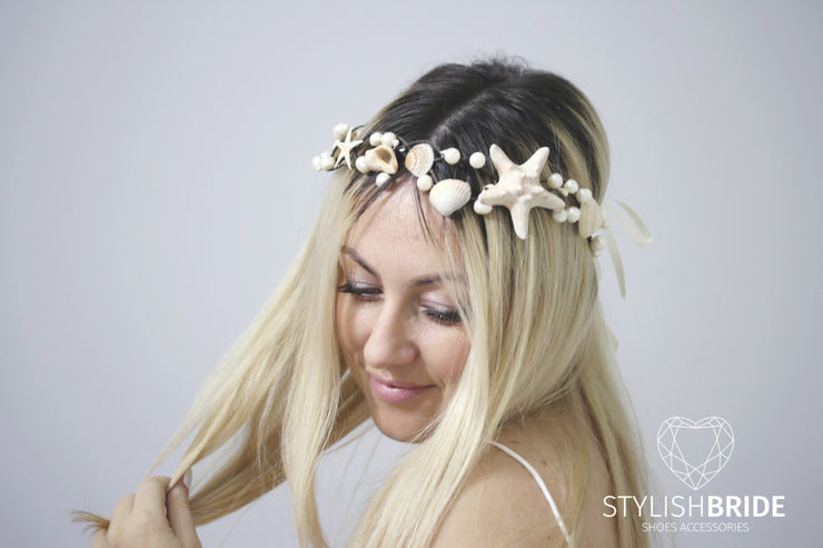 Wedding Hair Piece, Beach Bridal Crown Starfish, Bridal Headband, Beach Wedding Hair Vine, Wedding Hair Piece Beaded Tiara Starfish