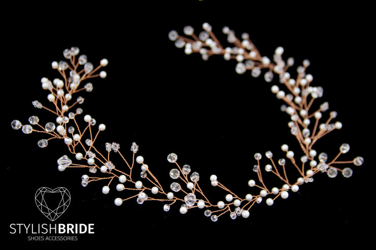 Wedding Rose Gold Pearl Hair Vine, Bridal Pearl Crystals Hair Vine, Pearl Hair Accessories, Pearl Crystals Hair Vine, Bridal Pearl Hairpiece
