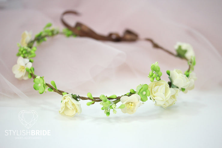 Boho Wedding Wreath With Green and White Paper Flowers, Flower Wedding Hair Vine, Flower Bridal Wreath, Wedding Headband Flower Hairpiece