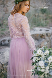 Blush Lace Belle Dress with Long Waterfall Bridesmaids or Engagement Skirt