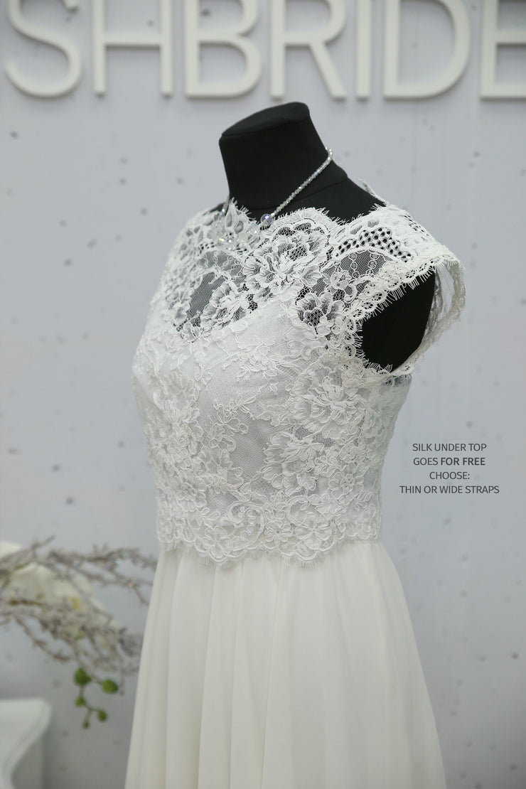Rosaleen | Lace Bridal Dress with Chiffon Skirt