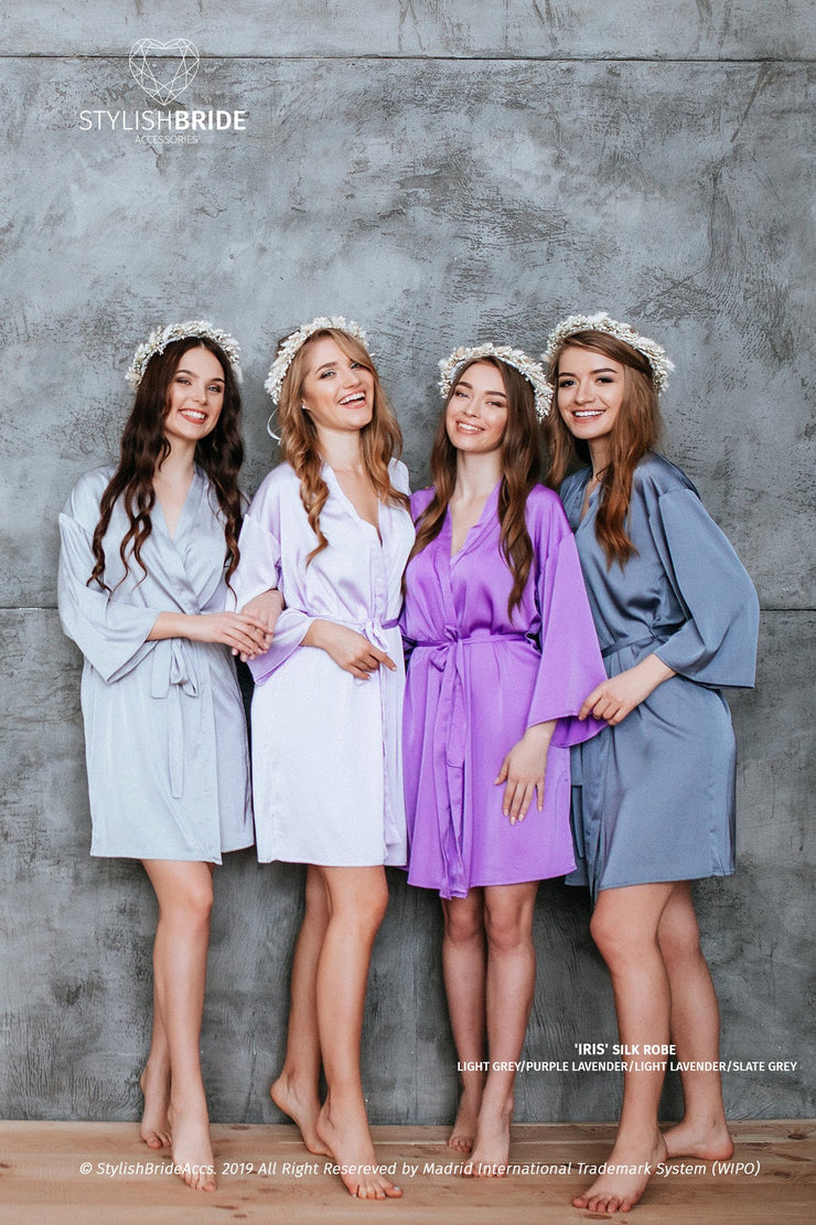 Iris | Lavender Grey Silk Boho Bridesmaid Robes