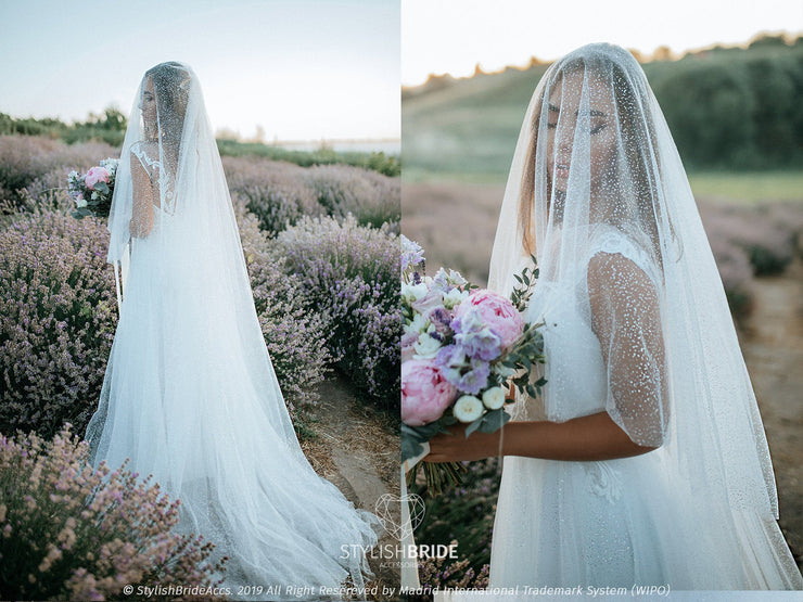 Sparkle | Glitter Cathedral Veil, Rustic Veil 2020