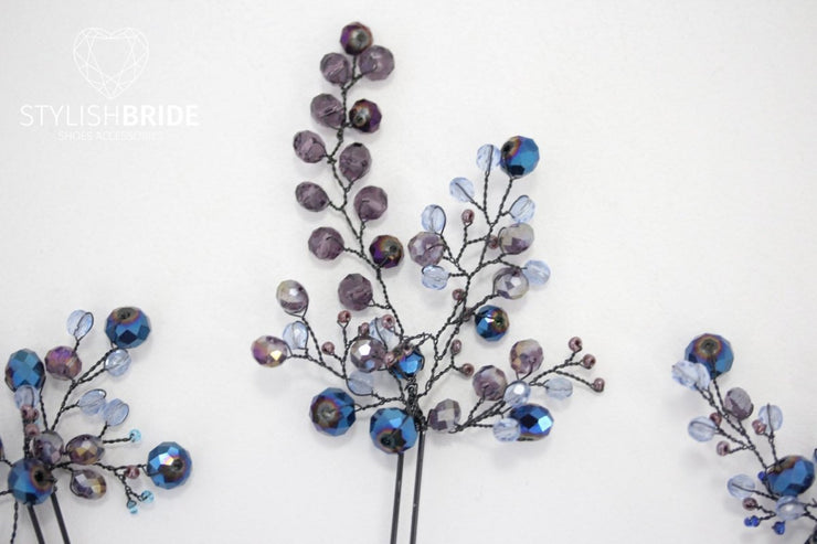 Indigo Wedding Crystal Hair Pin, Bridal Crystal Hair Pin, Wedding Hair Accessories, Bridesmaid Hair Accessory, Blue Purple Crystal Hair Pins - StylishBrideAccs