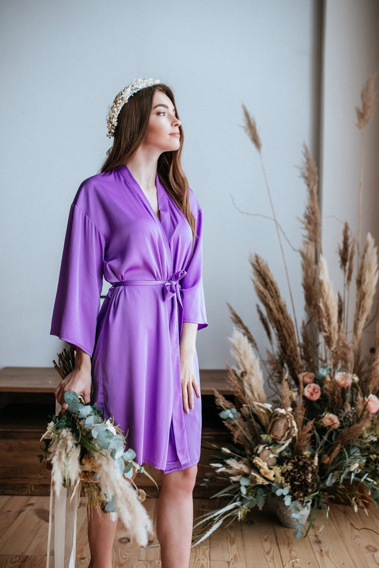 Iris | Bridesmaids Purple lavender Boho Silk Robe - StylishBrideAccs