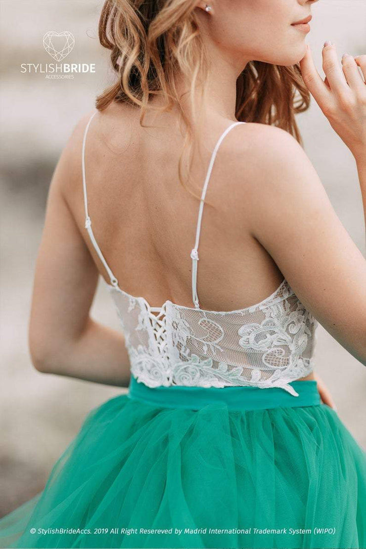 Isabel | Thin Straps Lace Bridal Top with Silk Bustier - StylishBrideAccs