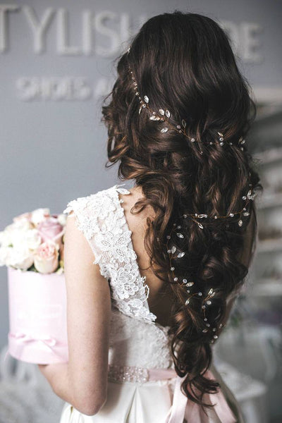 Isabella | Bridal extra long crystal hair vine 0.5-1.5 meters - StylishBrideAccs
