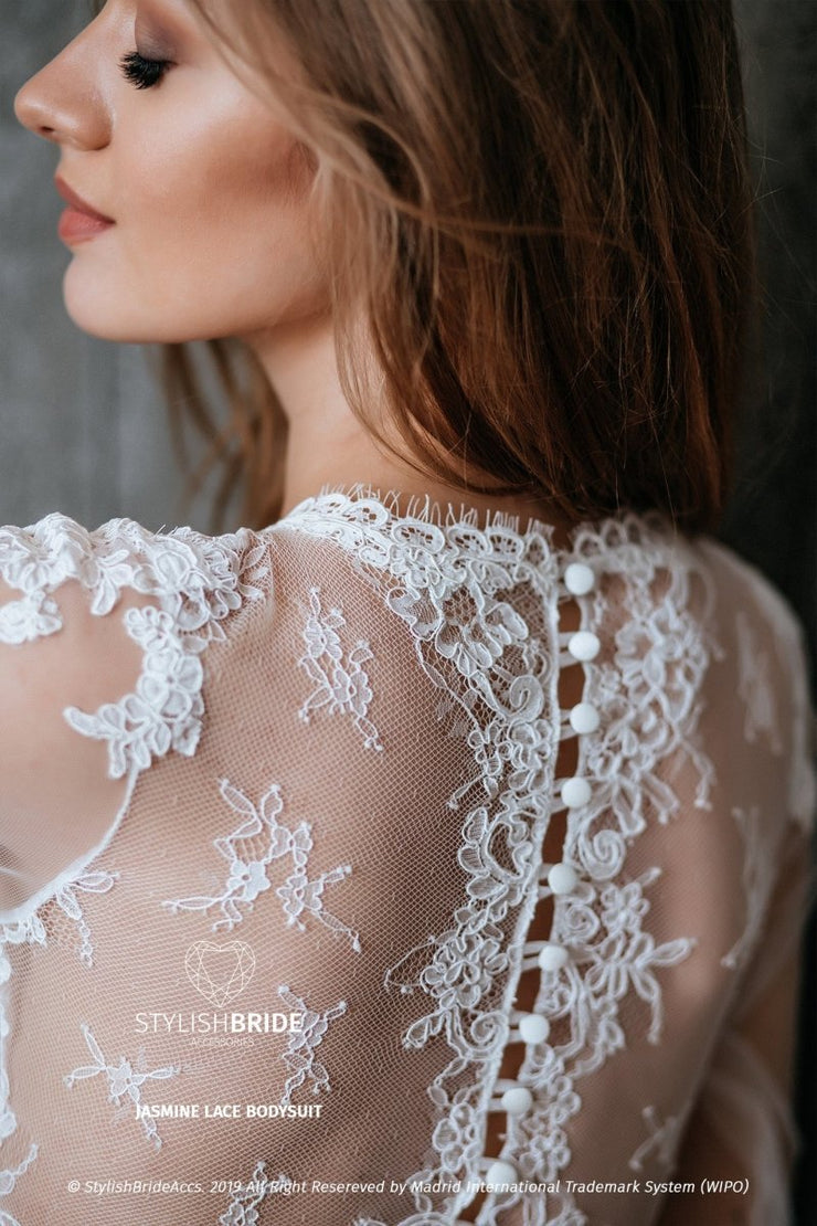 Jasmine Boho Lace Buttoned Back Wedding Bodysuit Lingerie - StylishBrideAccs
