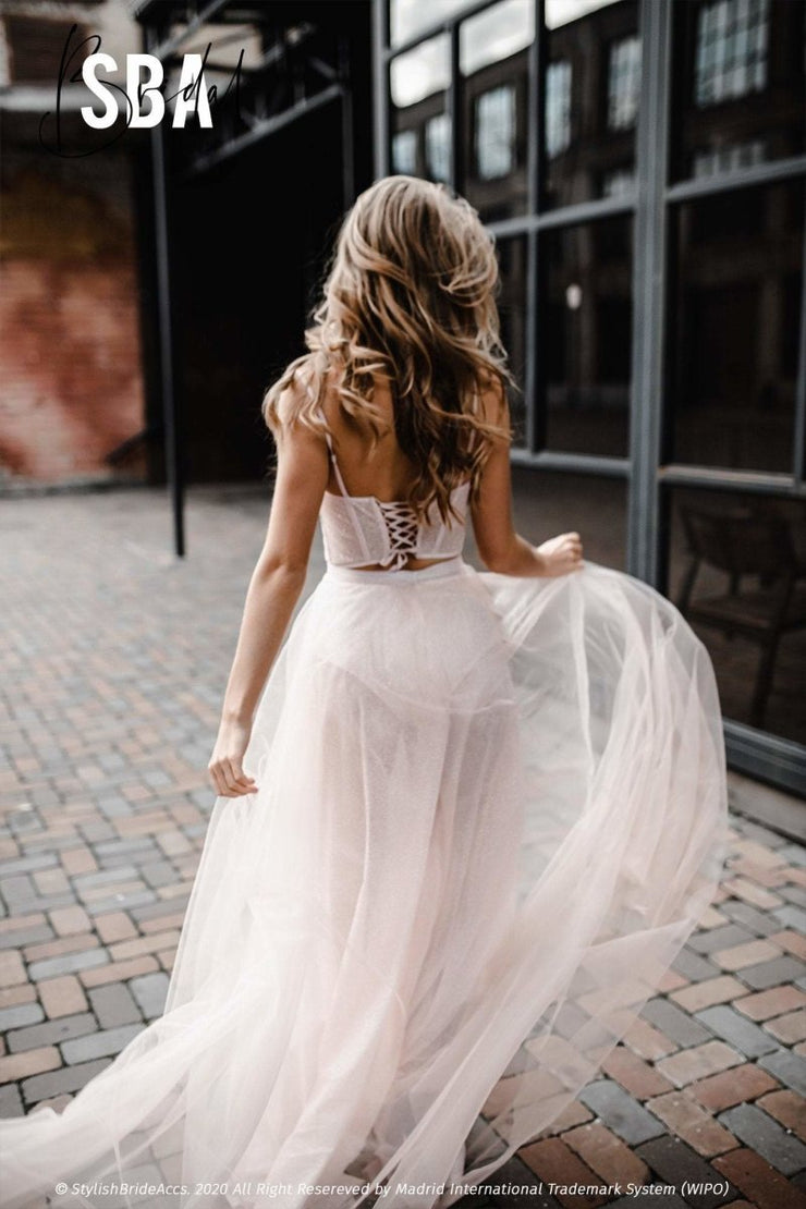 Leila | Glitter Blush Sparkle Wedding Dress - StylishBrideAccs
