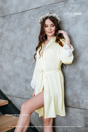 Lotus | Light Pale Yellow Silk Bridal Robe - StylishBrideAccs