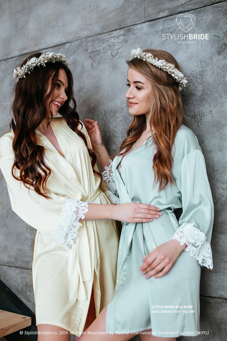 Lotus | Sage Green Lux Silk Bridal Robe - StylishBrideAccs