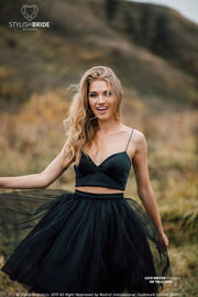 Lucie | Silk Black Party Dress with Spaghetti Straps - StylishBrideAccs