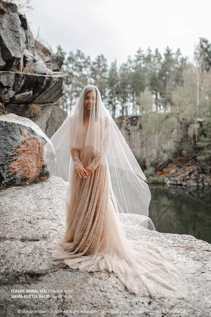 Luxury Handmade Boho Tulle Veil - Tan Color 2020 - StylishBrideAccs