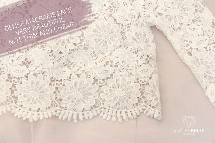 Macrame Flower Wedding or Engagement Lace Crop Top - Bridal Gowns and Separates - StylishBrideAccs