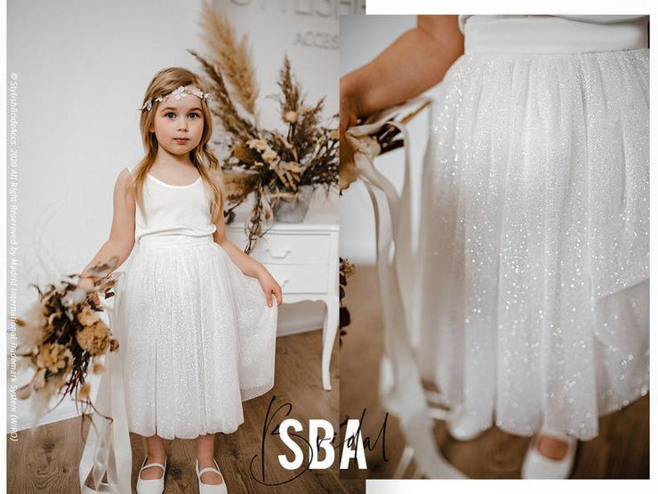 Marta | Flower Girl Top & Sand Glitter Skirt - StylishBrideAccs