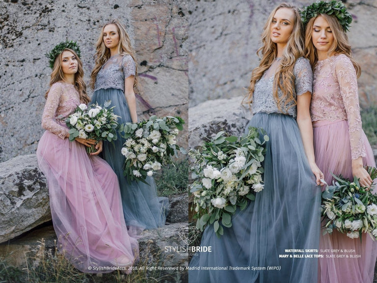 Mary | Blush and Grey Prom Top & Waterfall Skirt - StylishBrideAccs