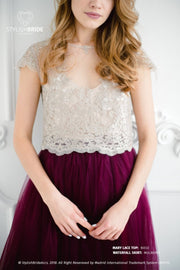 Mary | Evening Nude Lace Top with Cup Sleeves - StylishBrideAccs