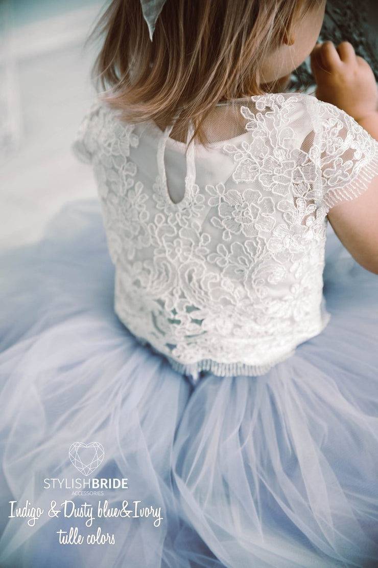 Mary | Flower Girl Lace Top & Dusty Blue Ombre Skirt - StylishBrideAccs