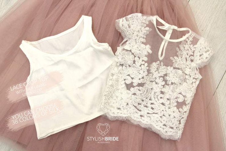 Mary | Flower Girl Lace Top with Cup Sleeves - StylishBrideAccs