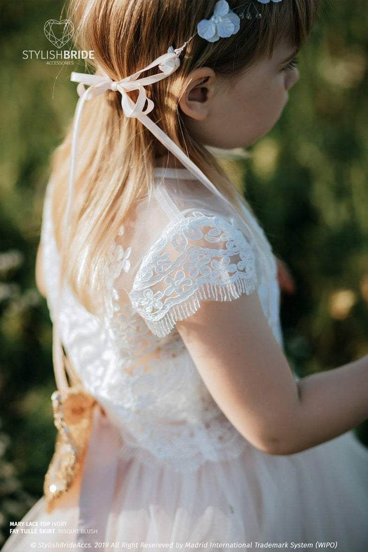 Mary | Flower Girl Lace Top with Silk Undertop - StylishBrideAccs