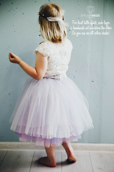 Mary | Flower Girl Top & Lavender Ombre Tulle Skirt - StylishBrideAccs