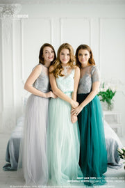 Mary | Green Grey Party Top & Waterfall Skirt - StylishBrideAccs