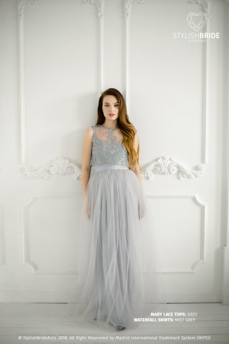 Mary | Grey Engagement Top & Waterfall Skirt - StylishBrideAccs