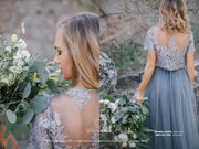 Mary | Grey/Dusty Blue Prom Top & Waterfall Skirt - StylishBrideAccs