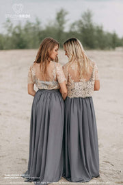 Mary | Lace Bridesmaids Top & Grey Flame Skirt - StylishBrideAccs
