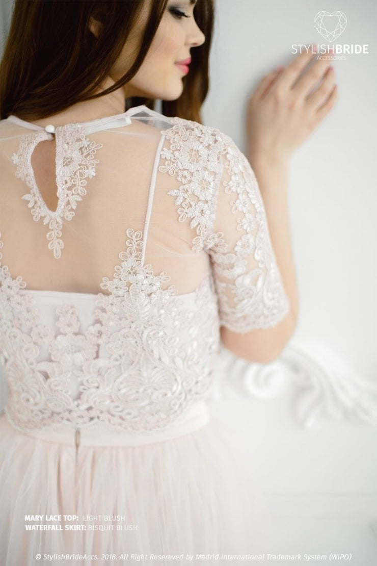 Mary | Light Blush Bridesmaids Lace Crop Top - StylishBrideAccs