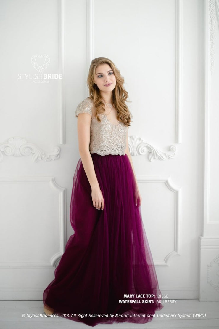 Mary | Prom Lace Top & Waterfall Skirt - StylishBrideAccs