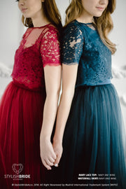 Mary | Prom Navy Lace Top & Waterfall Skirt - StylishBrideAccs