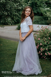 Mary | Prom Top & Lavender Waterfall Skirt - StylishBrideAccs