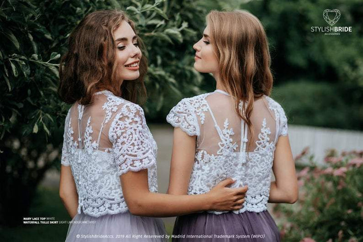 Mary | T-shirt Lace Bridesmaids Top - StylishBrideAccs