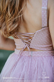 Melody | Prom Dotted Corset Bustier with Wide Straps - StylishBrideAccs
