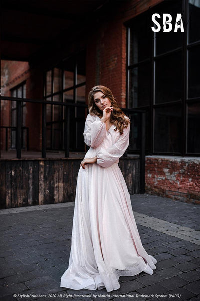 Mermaid | Blush Boho Dress Balloon Sleeves - StylishBrideAccs
