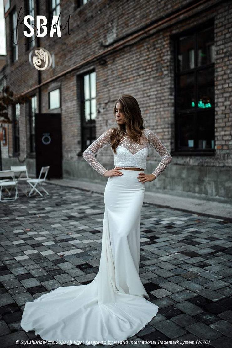 Mermaid | Fitted Sequin Beaded Wedding Dress - StylishBrideAccs