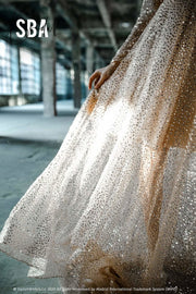 Mermaid | Gold Sequin Beaded Wedding Dress - StylishBrideAccs