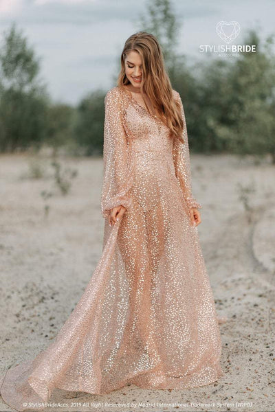 Mermaid | Rose Gold Lux Beaded Bridal Dress - StylishBrideAccs