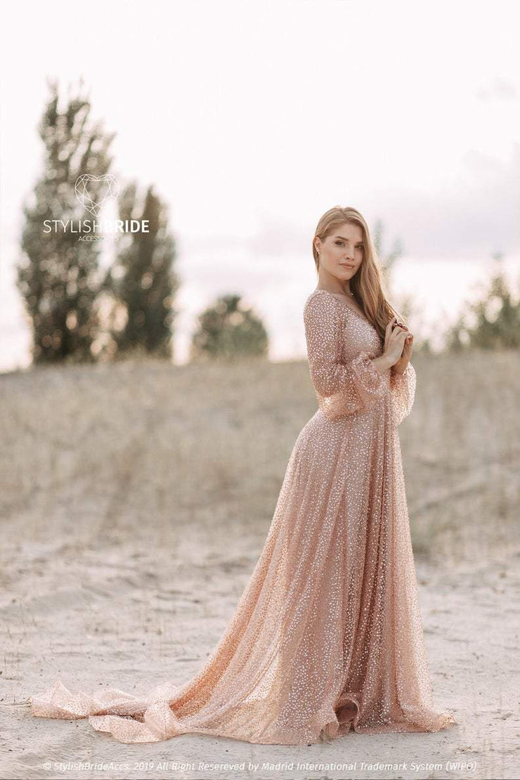 Mermaid | Rose Gold Muslim Wedding Dress - StylishBrideAccs