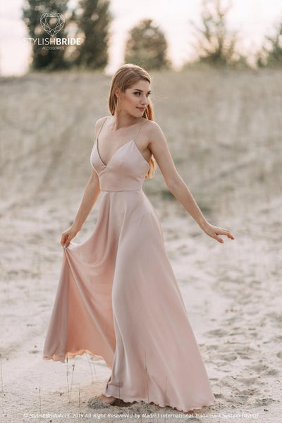Mermaid | Silk Slip Open Back Bridal Dress - StylishBrideAccs